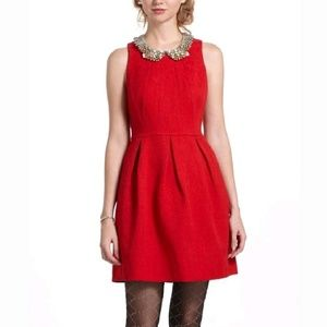 Anthropologie • Red Holiday Fit & Flare Dress